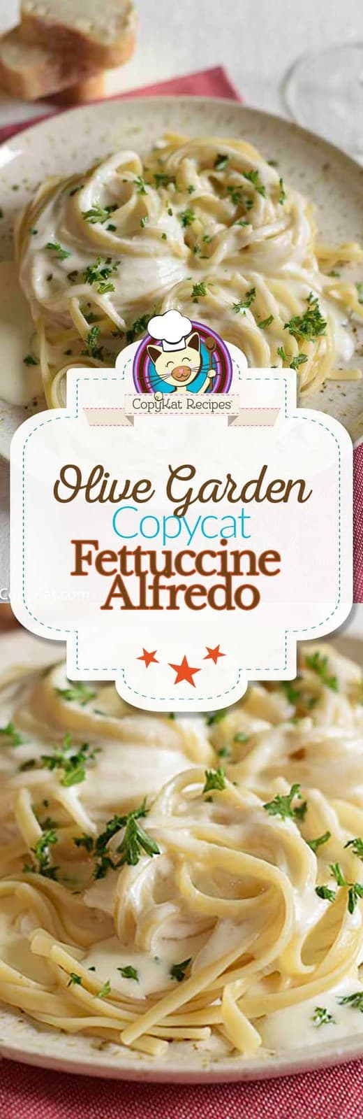 You can make a copycat recipe for the Olive Garden Fettuccine Alfredo at home with this easy copycat recipe.