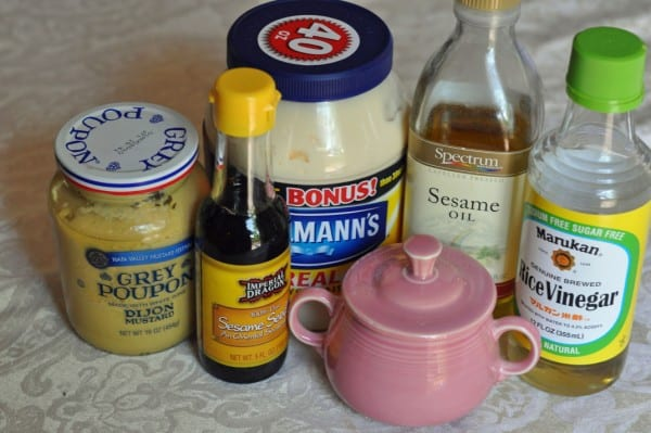 oriental salad dressing in a dish