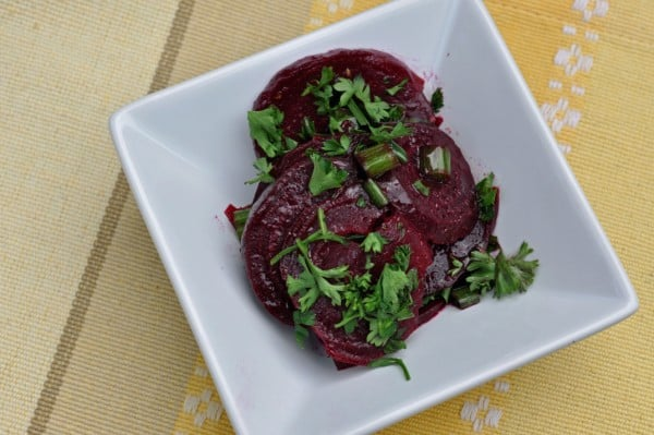 Beet Salad on white plate