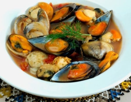 bowl of fish stew
