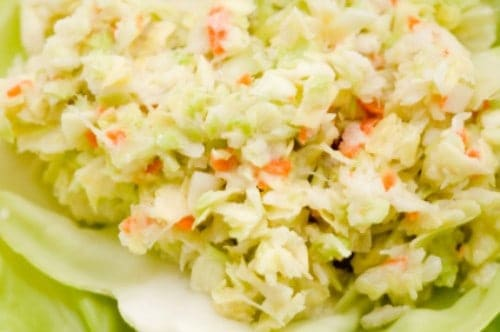 scoop of frozen cole slaw