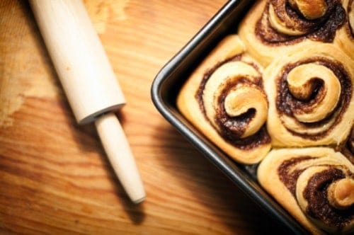 pan of freshly baked cinnamon rolls