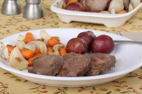 sliced pot roast on a plate