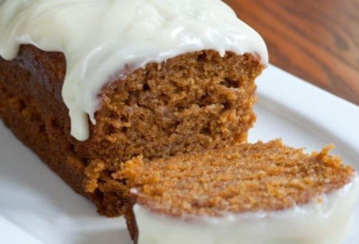 pumpkin loaf with cream cheese frosting