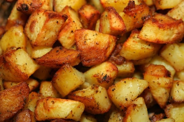 plate of roasted new potatoes