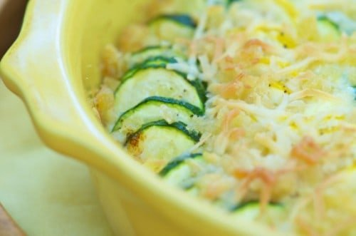 squash casserole in a dish