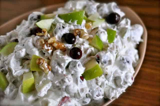 Cranberry salad with apples and walnuts