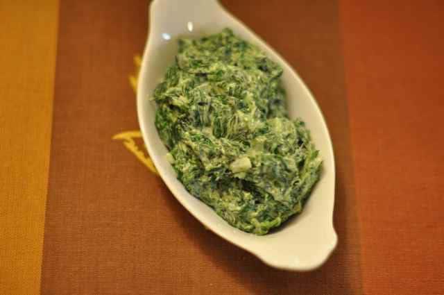 dish of creamed spinach