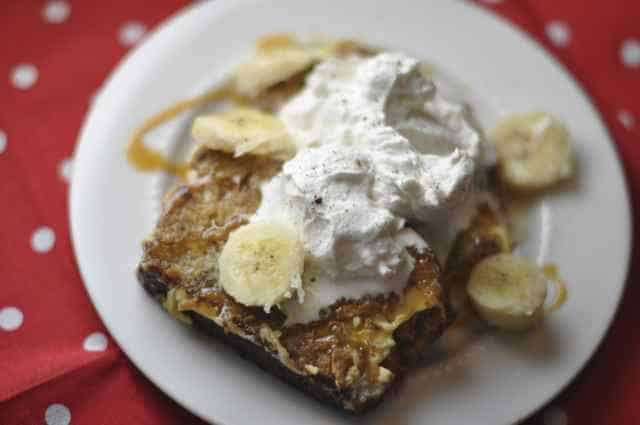 banana bread french toast like the ihop on a plate
