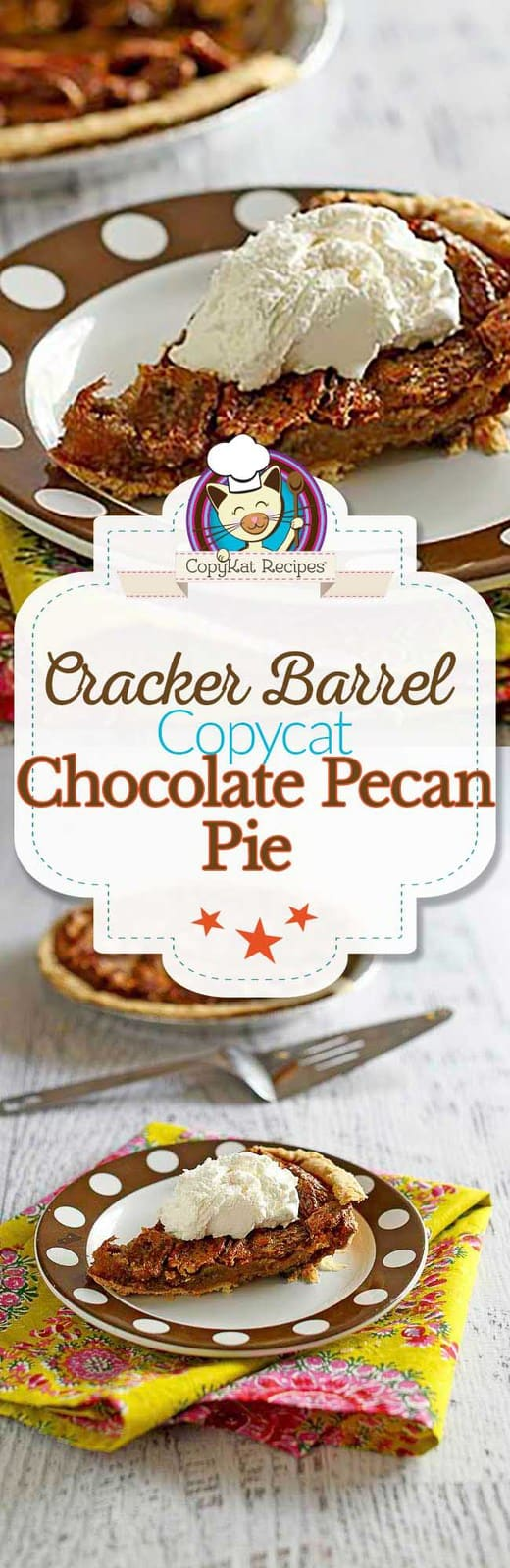 You can recreate the Cracker Barrel Chocolate Pecan Pie at home with this copycat recipe.