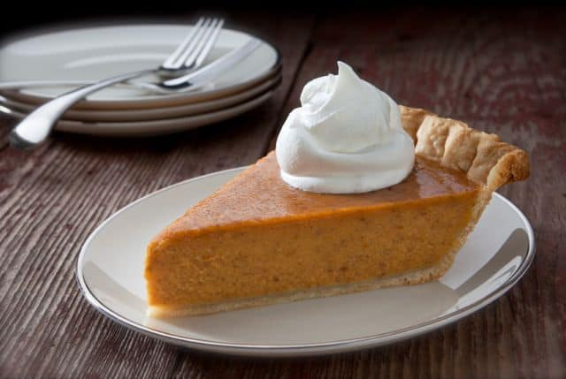 slice of pumpkin pie made with pumpkin pie spice