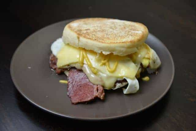 Breakfast sandwich with corned beef