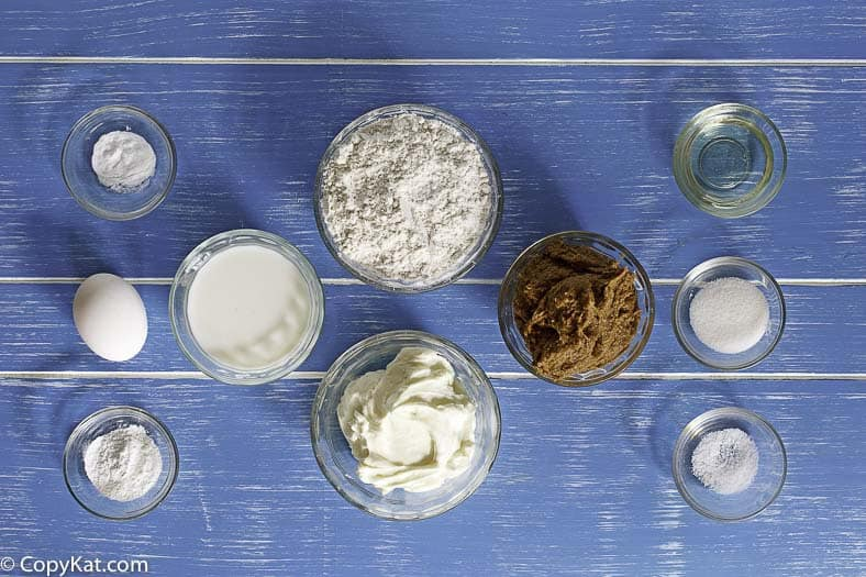 Ingredients for the IHOP Cinn-a-Stack pancakes.