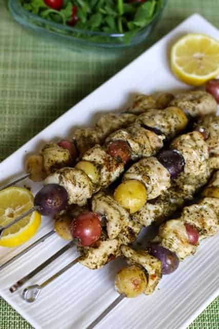 Potato Chicken Pesto Kabobs