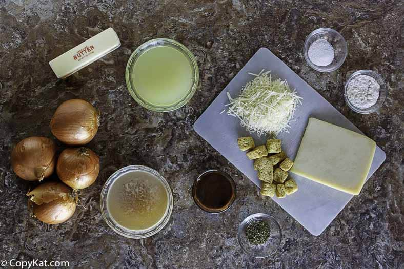 Ingredients for Panera Bread Bistro French Onion Soup.