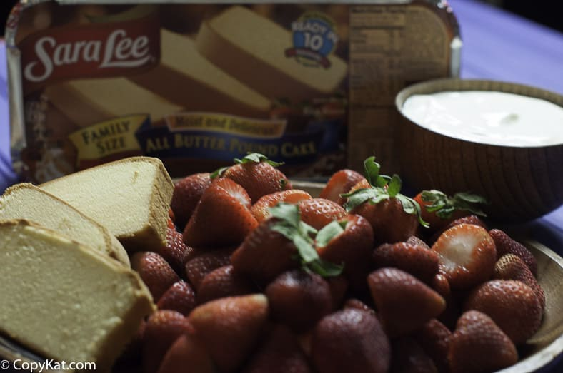 Ingredients for the Sara Lee Pound cake with  Strawberry Soup.