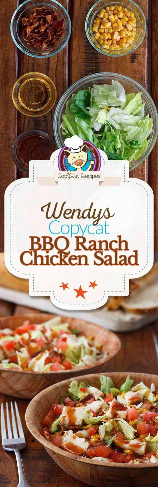 Make a meal out of a salad with this copycat recipe for Wendy's BBQ Ranch Chicken Salad.