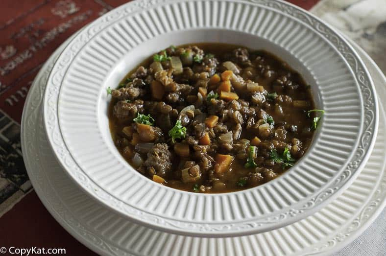 Carrabbas sausage and lentil soup , you can make this copycat recipe.