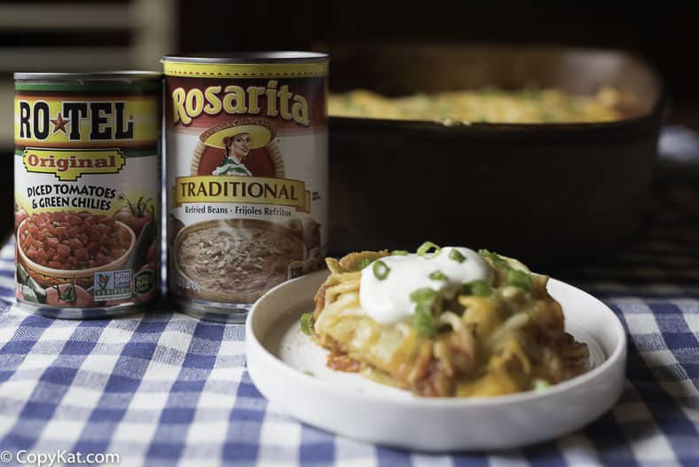 Taco Casserole with Rosarita Refried Beans and Ro*Tel tomatoes.  So delicious in this hearty casserole.