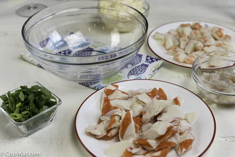 Ingredients in the Chinese Buffet Seafood bake.  Recreate this dish at home.