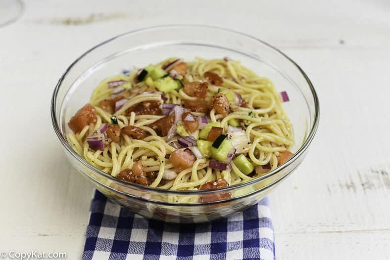 Make Luby's Spaghetti Salad just like they do when you prepare this copycat recipe.