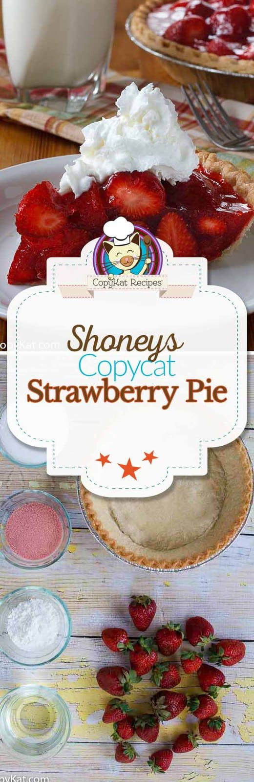 Make this copycat recipe for the famous Shoney's Strawberry Pie. #copycat #copycatrecipe #shoneys #strawberry #strawberrypie #freshstrawberries #cold