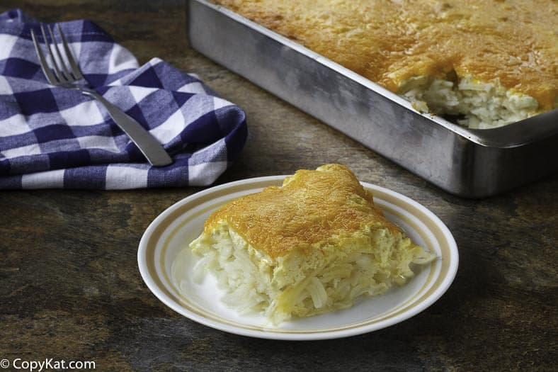 Make your own version of copycat of the Cracker Barrel hash brown casserole.