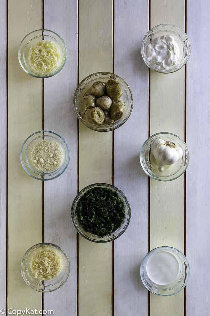 Ingredients for Houstons Artichoke Dip.