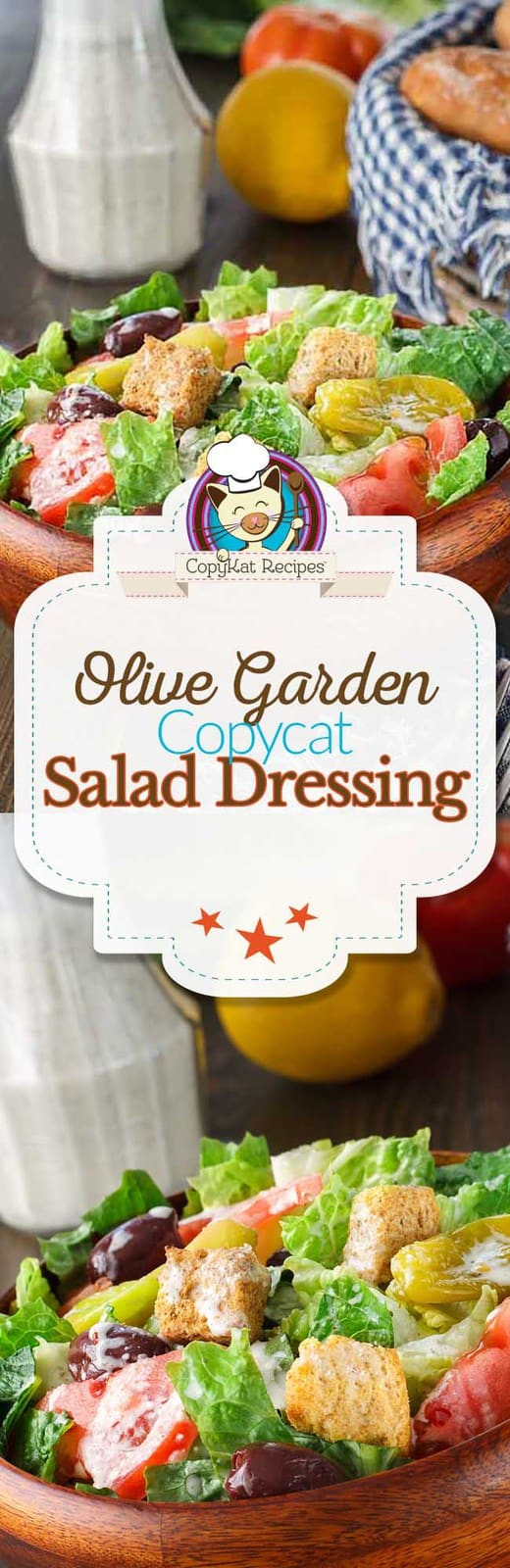 Recreate your own copycat version of the Olive Garden Salad dressing at home with this recipe. #copycat #olivegarden #salad #saladdressing