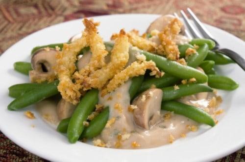 plate of green bean casserole