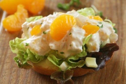 chicken salad on a bun