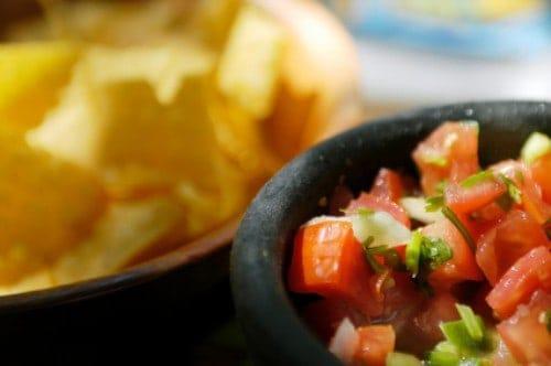 bowl of salsa and tortilla chips