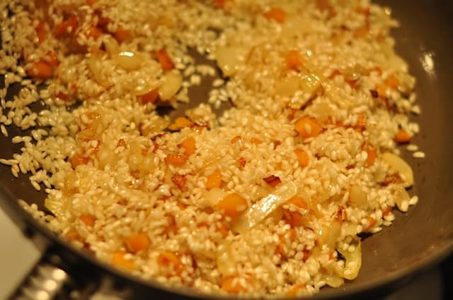 risotto cooking in pan
