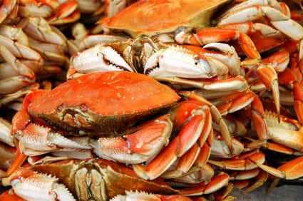 fresh crabs in stacks