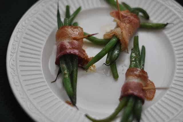 Green Bean Bundles on a plate