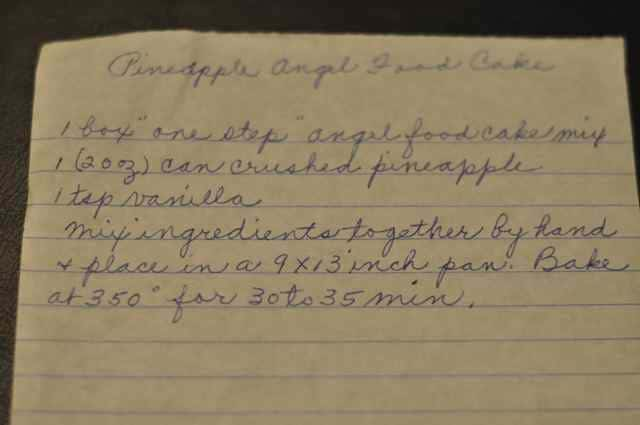 hand written recipe for pineapple angel food cake