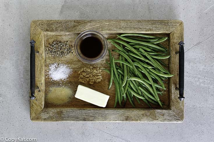 Ingredients for the Outback Steakhouse Green Bean copycat recipe.