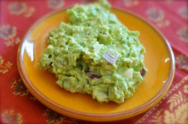 fresh guacamole on a plate