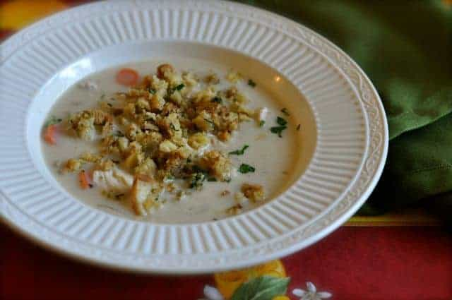 Bowl of creamy turkey soup