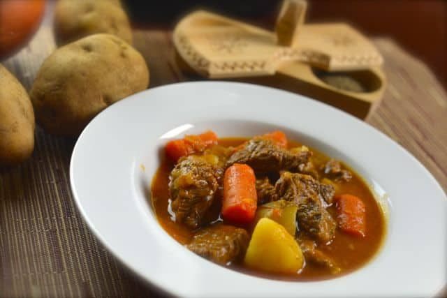 beef stew made with a pressure cooker