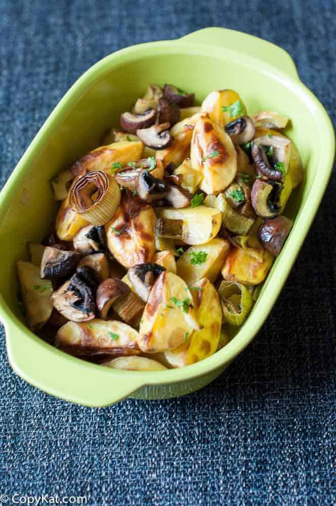 Roasted Potatoes and Leeks with Mushrooms from CopyKat.com