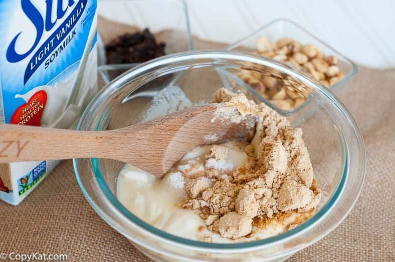 Stirring the Chocolate Peanut Butter Yogurt Cups