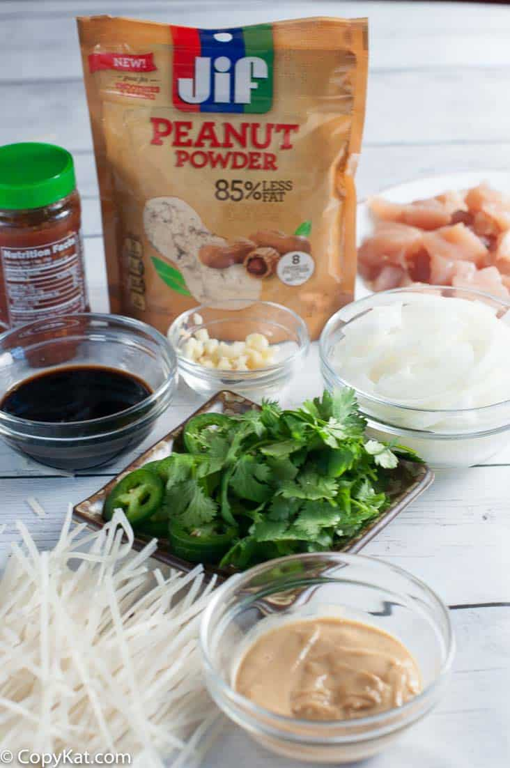 Ingredients for Peanut Butter Stir Fry Chicken from CopyKat.com