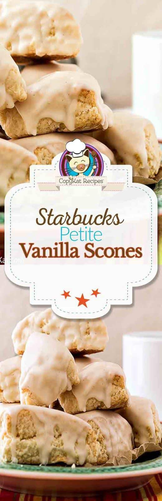 Make this copycat recipe for Starbucks Petite Vanilla Scones.  This copycat recipe just  like the original. #starbucks #scones #copycat #copycatrecipe #intheoven #baking #baked #homemade