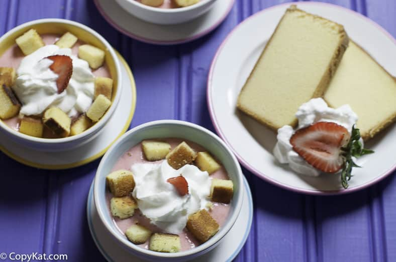 Make some delicious strawberry soup with pound cake croutons.  This recipe is perfect for breakfast or dessert.