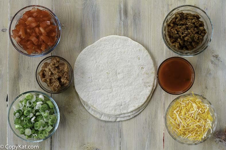 Taco Bell Mexican Pizza Ingredients for this copycat recipe for Taco Bell Mexican pizza.