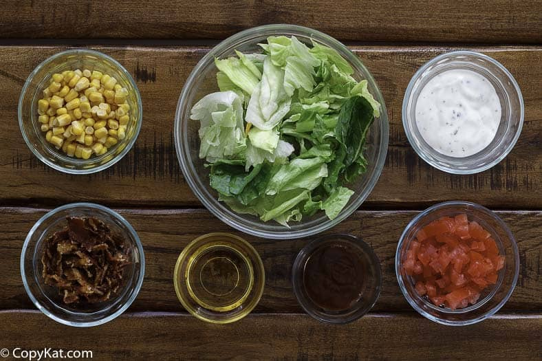 Ingredients for Wendy's BBQ Ranch Chicken Salad.
