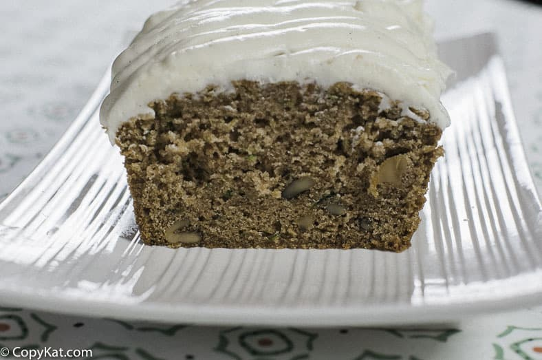 Homemade zucchini bread with cream cheese frosting.