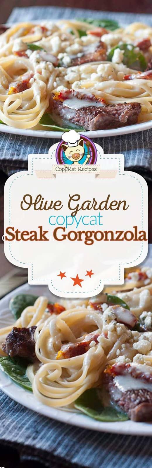 Make the Olive Garden Steak Gorgonzola Alfredo.  You will love this copycat recipe. #copycat #copycatrecipe #olivegarden #steak #gorgonzola #dinnerrecipe