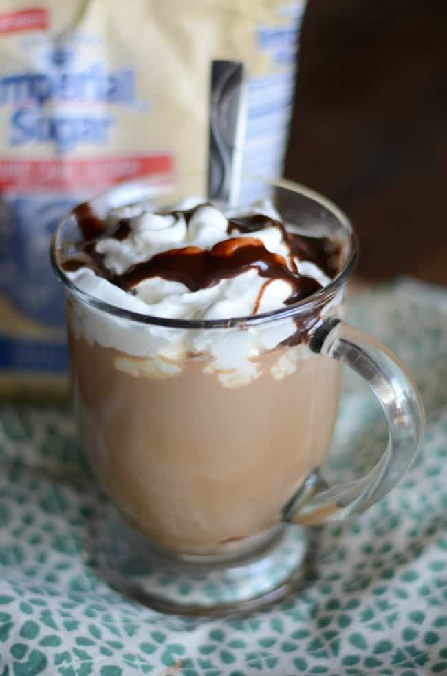 Starbucks cafe Mocha topped with homemade whipped cream can't be beat.  Make this copycat recipe today.